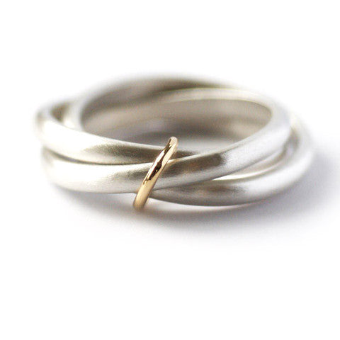 "Unusual, unique, bespoke and modern silver ""Russian Wedding ring"" playful and tactile with brushed finish. Handmade by Sue Lane Contemporary Jewellery UK."