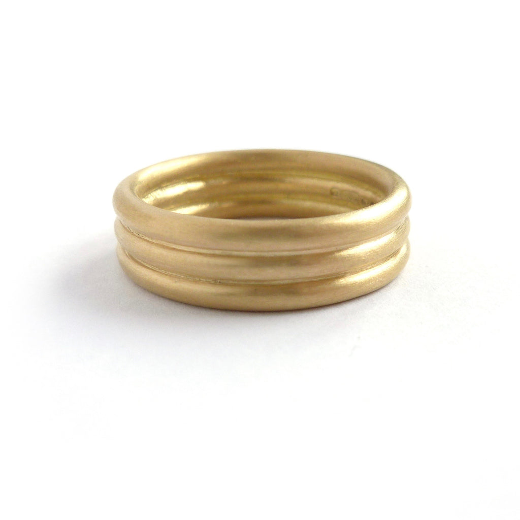 Unique alternative matt wedding ring for men or women. Contemporary modern bespoke and handmade.