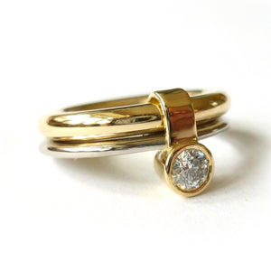 chunky and handmade contemporary, unique, bespoke, modern engagement ring gold with large diamond hereford