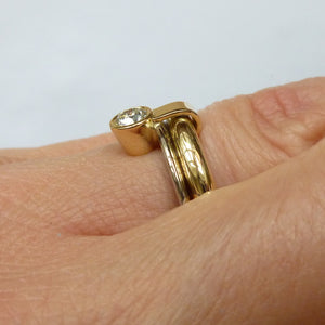 Modern, contemporary, unique, bespoke, modern, chunky and handmade engagement ring gold hereford