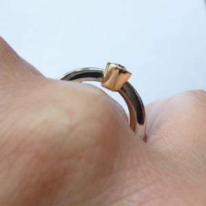 Contemporary, unique, bespoke, modern, chunky and handmade engagement ring gold