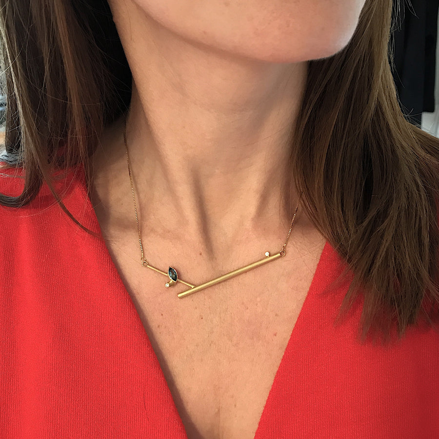 Contemporary, unique, bespoke and handmade 18ct yellow gold pendant