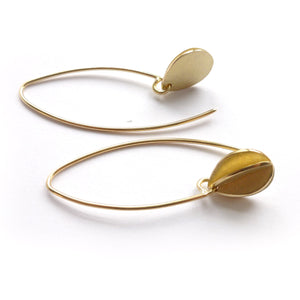 Bespoke contemporary modern unique leaf hook earrings in yellow gold handmade with a brushed finish