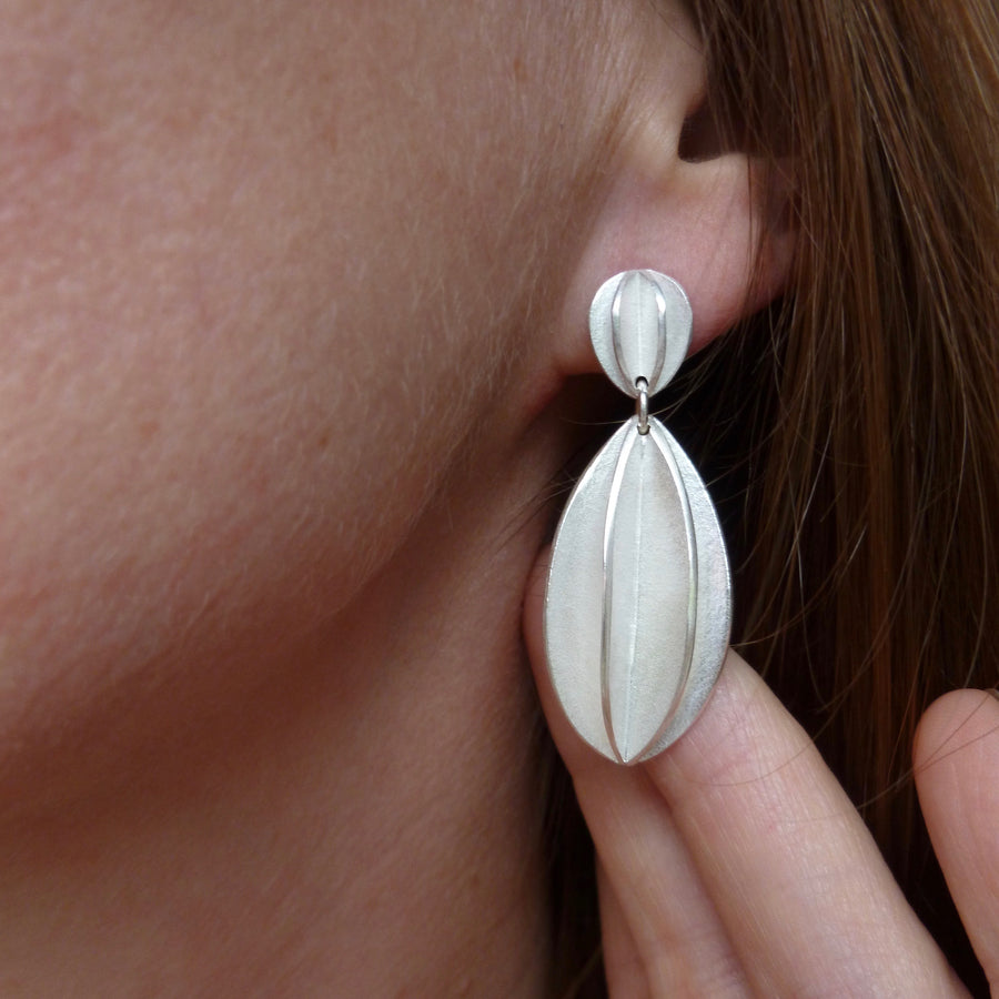modern bold textured silver drop earrings handmade in UK