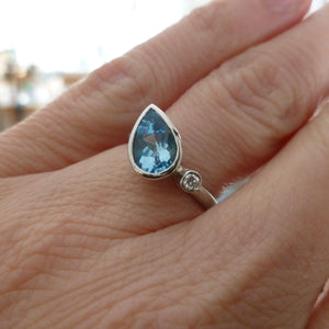 Unique one of a kind aquamarine and diamond ring platinum ring, an alternative engagement ring handmade in UK by Sue Lane