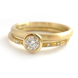 Modern two band diamond ring alternative modern engagement ring Sue Lane