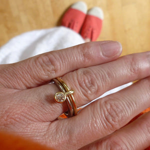 alternative modern two tone gold and diamond enagement ring or wedding ring by Sue Lane UK