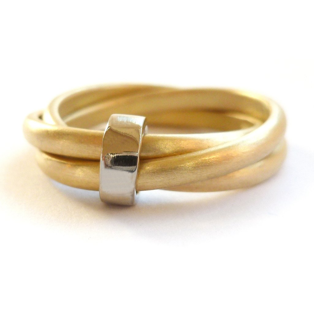 modern two tone russian style ring with 3 band linked together, handmade in the UK