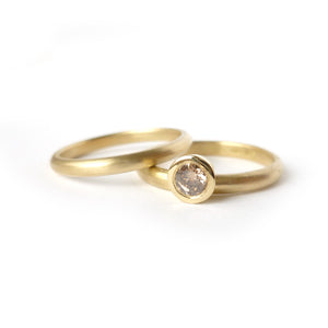 modern unique champagne diamond and yellow gold stacking engagement  ring