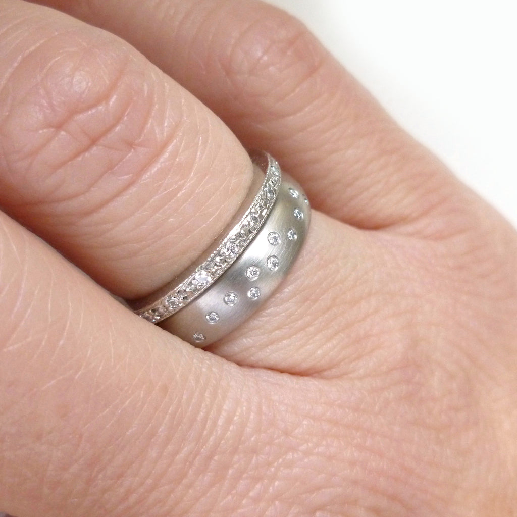 handmade wide brushed palladium and 10 flush set diamond ring