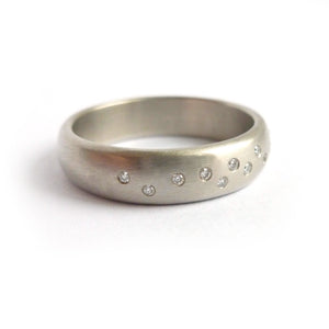 wide brushed platinum diamond ring contemporary handmade bespoke Sue Lane