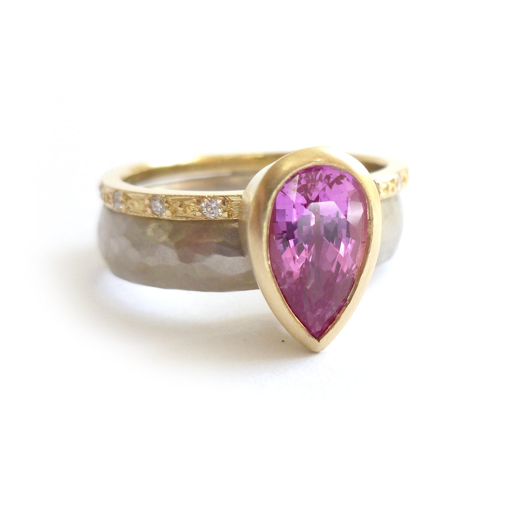 handmade unique contemporary pink sapphire and diamond two band ring