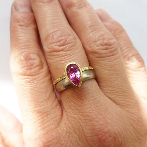 unique contemporary pink sapphire and diamond two band ring