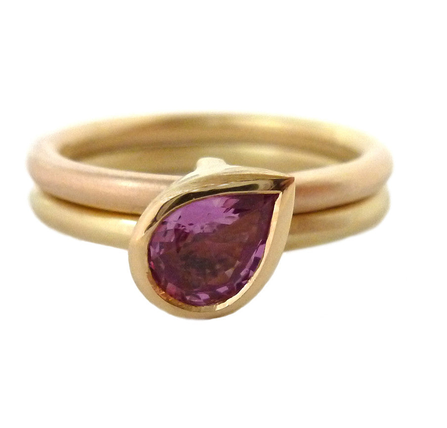 18k Rose and Yellow Gold and Pink Sapphire Ring (OF37a) - Sue Lane Contemporary Jewellery - 2