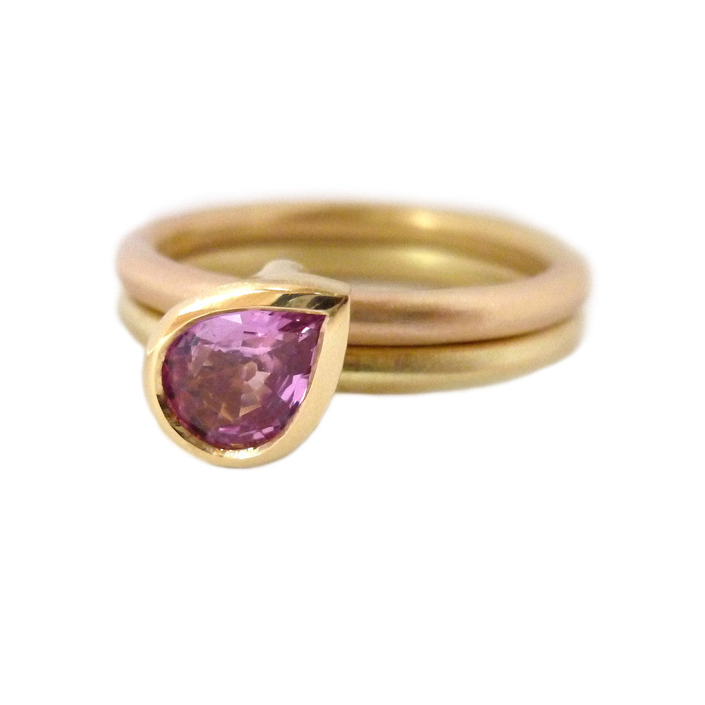 18k Rose and Yellow Gold and Pink Sapphire Ring (OF37a) - Sue Lane Contemporary Jewellery - 1