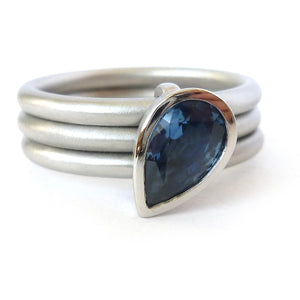 Platinum and Cornflower Blue Sapphire Ring