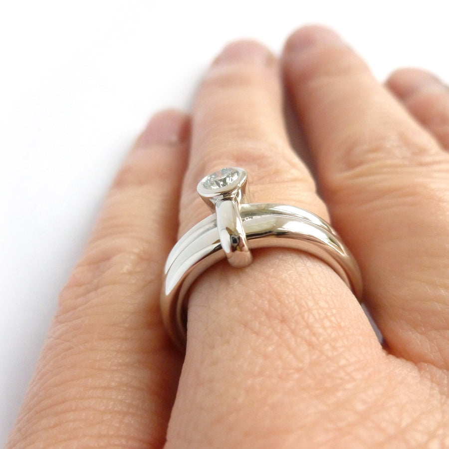Chunky heavy weight modern eternity two band stacking ring set, handmade in platinum and diamond. Multi band ring or interlocking ring, sometimes called double band ring too.