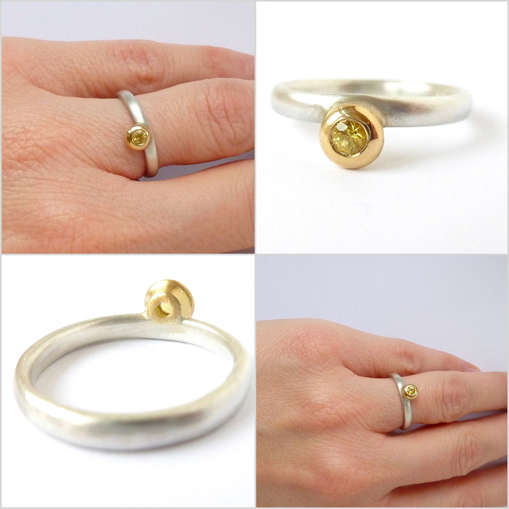 Silver, 18k yellow gold and yellow sapphire ring (sam11)
