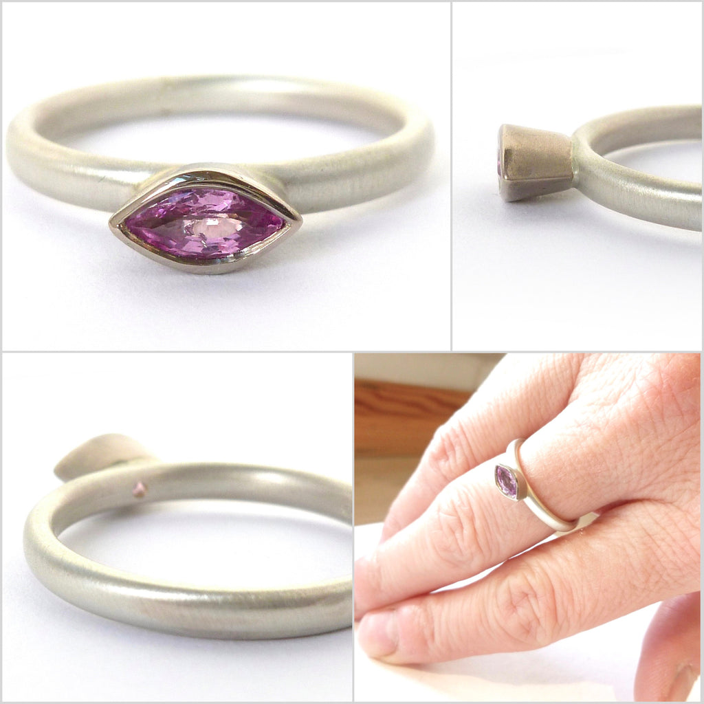 Pink sapphire, silver and 18k white gold ring (sam4)
