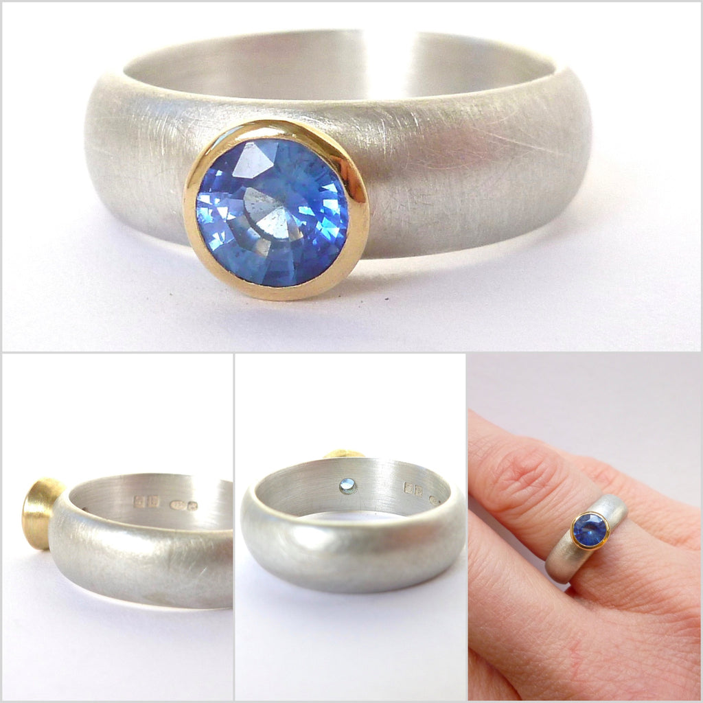 Silver, 18k gold and cornflower blue sapphire ring (sp1)