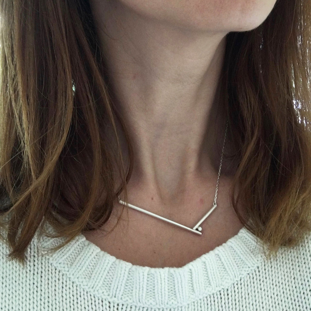 contemporary silver and diamond necklace by Sue Lane UK