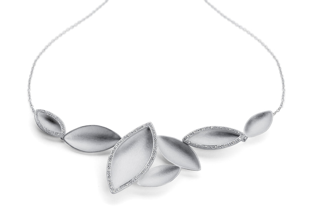 SOLD: Silver and 14 Diamond Necklace (OF20) - Sue Lane Contemporary Jewellery