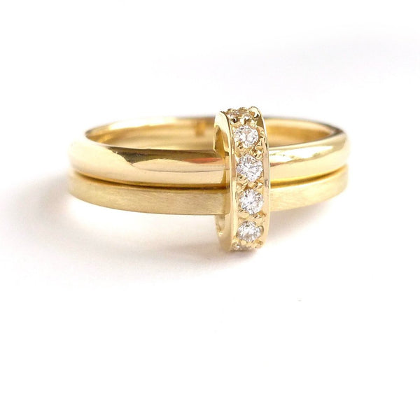 Contemporary, handmade, bespoke and unique 18ct gold ring diamonds - commission