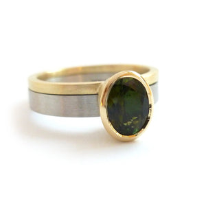 modern simple two band ring with green tourmaline, alternative engagement ring or chunky dress ring