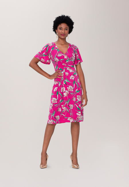 Betty Flutter  Midi Dress in Wild Tulip Pink