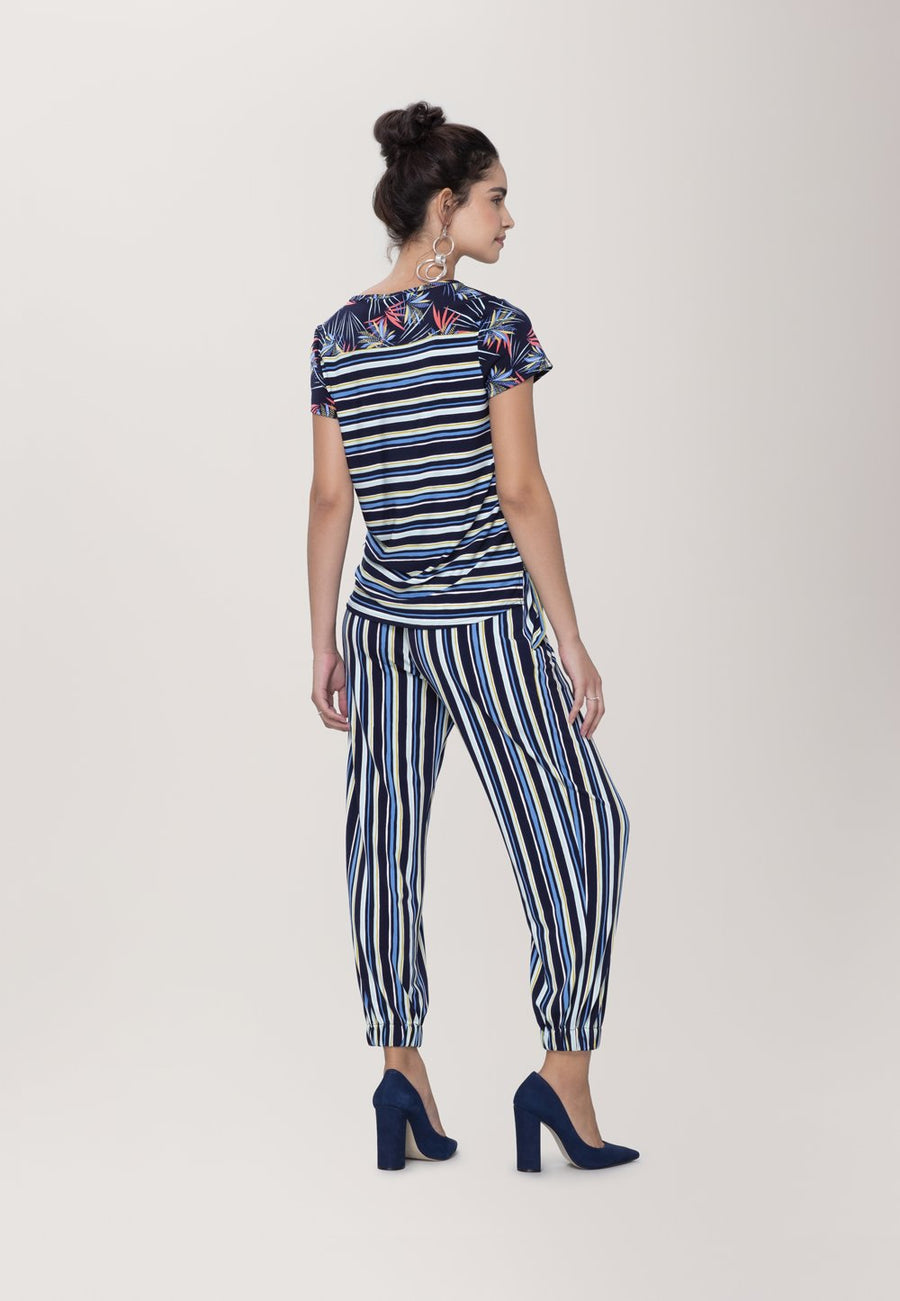 Tuxedo Jogger  Pant in Poolside Stripe Blue