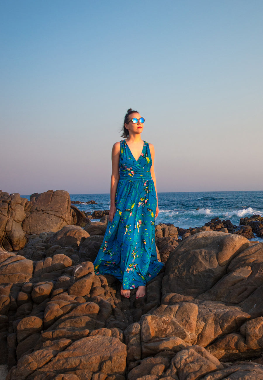 Athena Maxi in Chirp Mykonos Blue