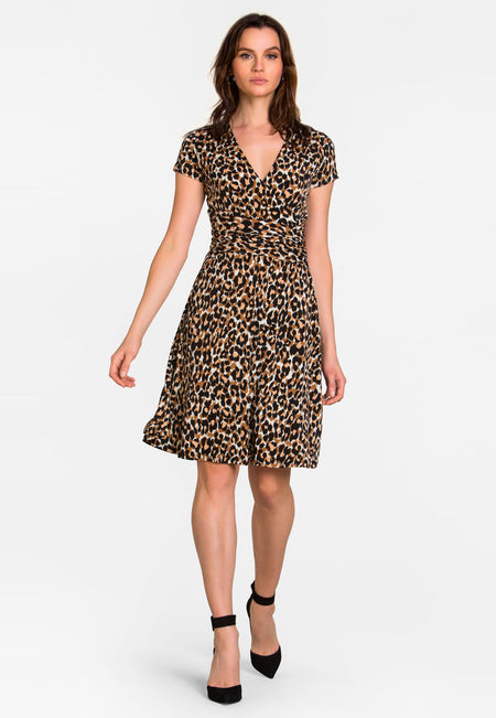 Amiya Wrap Dress in Leo Ginger Root Brown