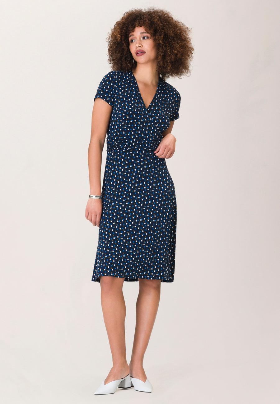 Amiya Dress in Twilight Dot Classic Navy