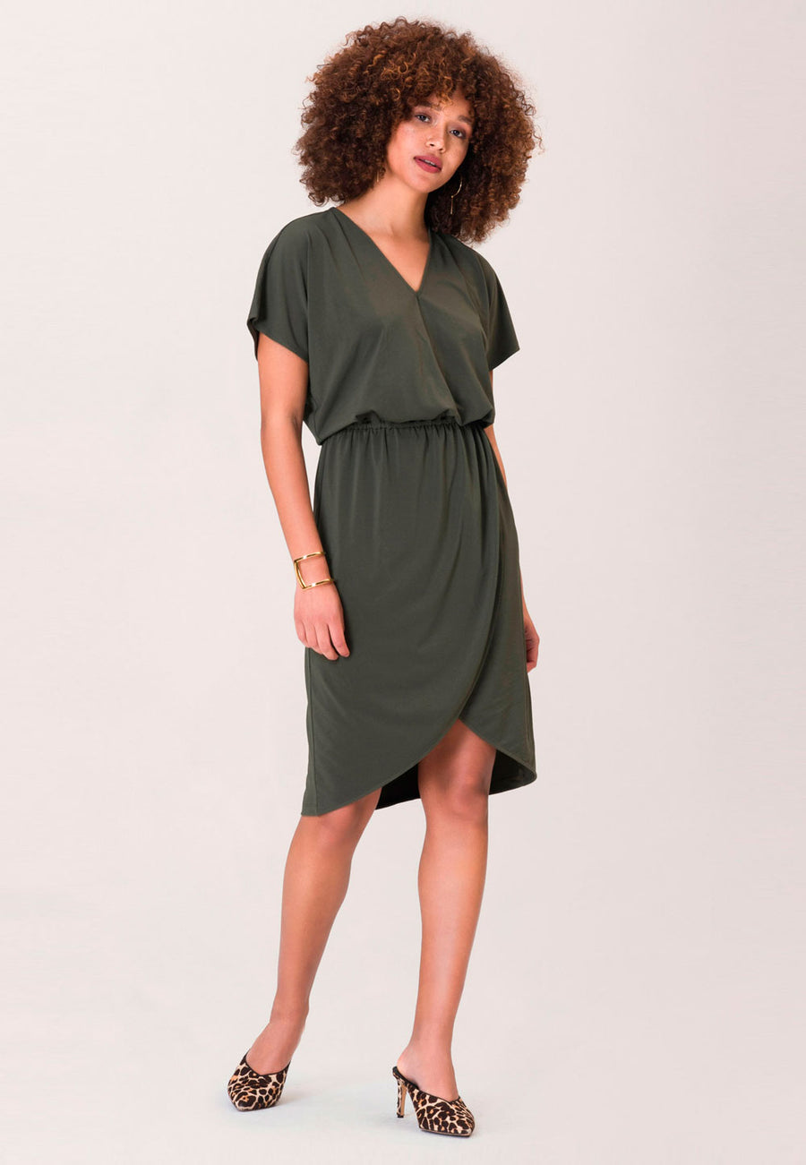 Angelina A-Line Dress in Crepe Knit Peat Moss Green