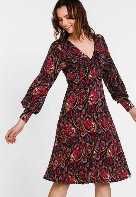 Daisy Dress in Opulent Paisley (Curve)