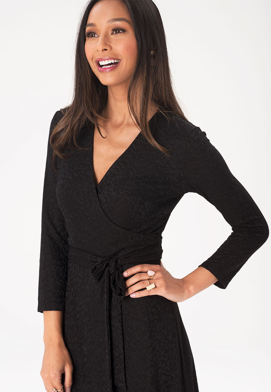 Perfect Wrap Dress in Tonal Cheetah Black