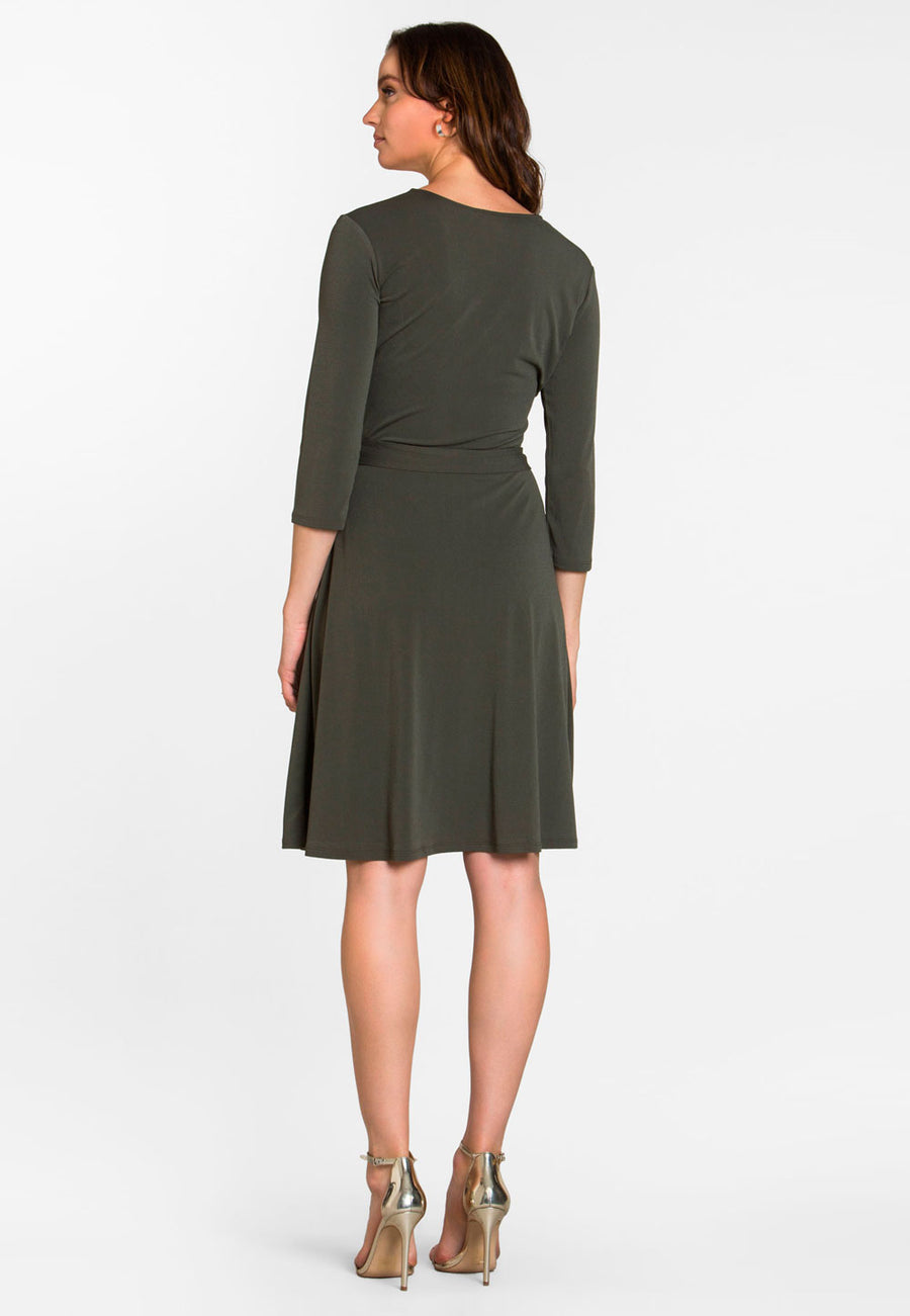 Perfect Wrap Dress  in Crepe Knit Peat Moss Green