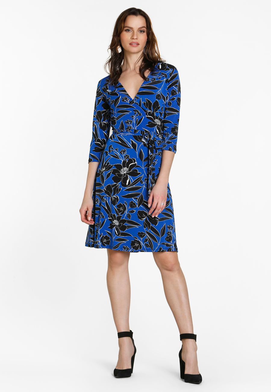 Perfect Wrap Dress in Classic Floral Turkish Sea Blue