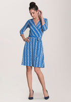 Perfect Wrap Dress  in Floral Stripe Blue