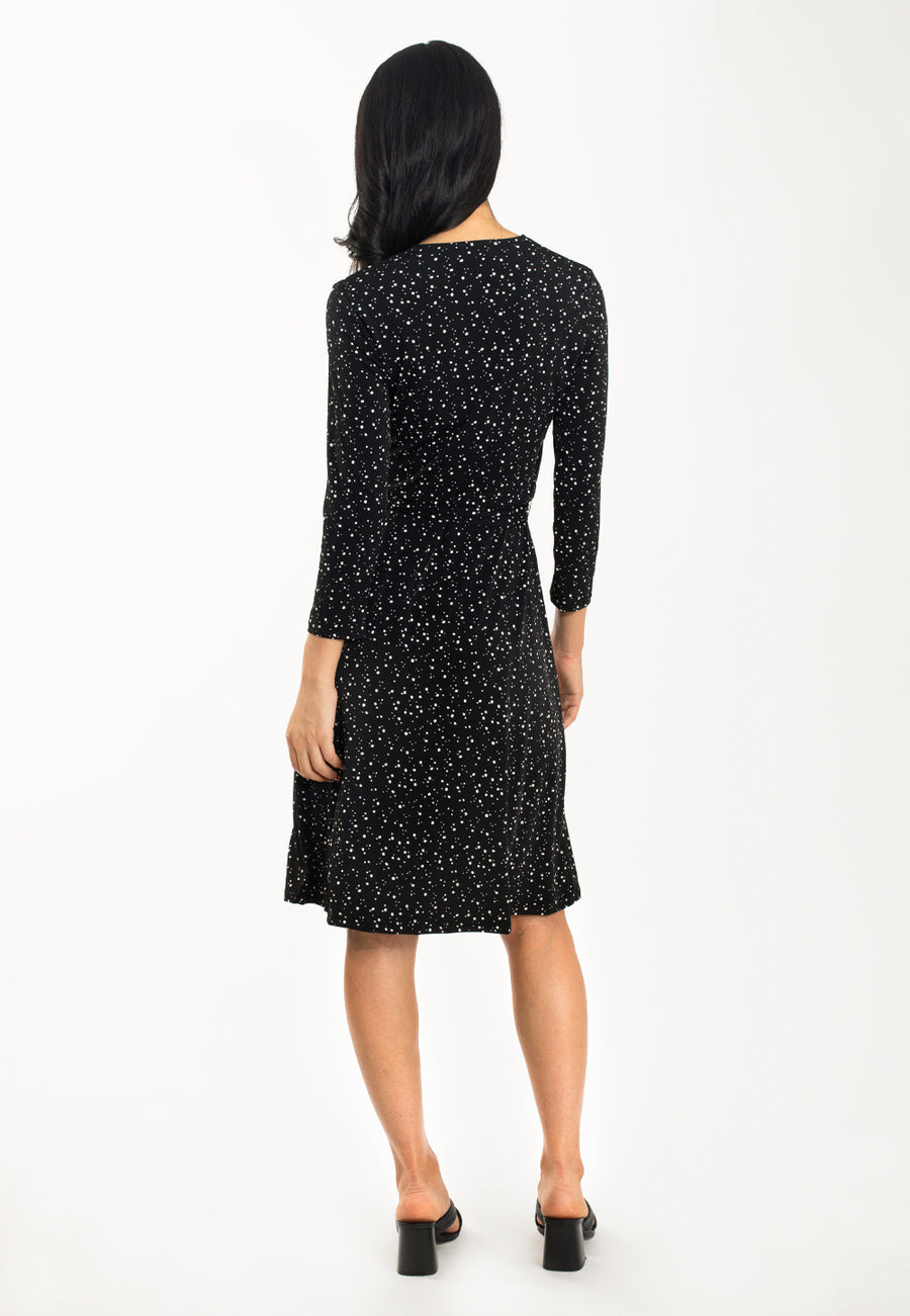 Perfect Wrap Dress in Starry Night Black