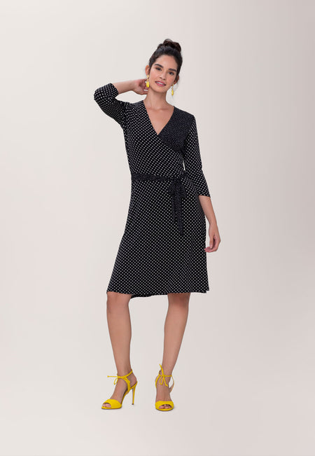 Perfect Wrap Dress  in Classic Dot & Pin Black