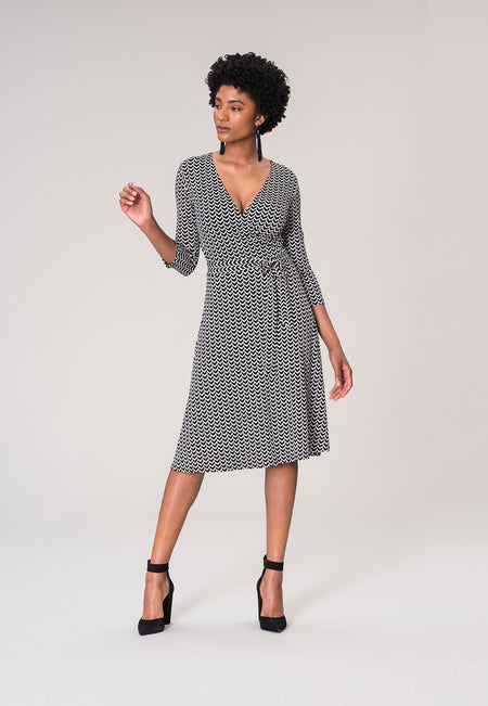 Perfect Wrap Dress in Herringbone