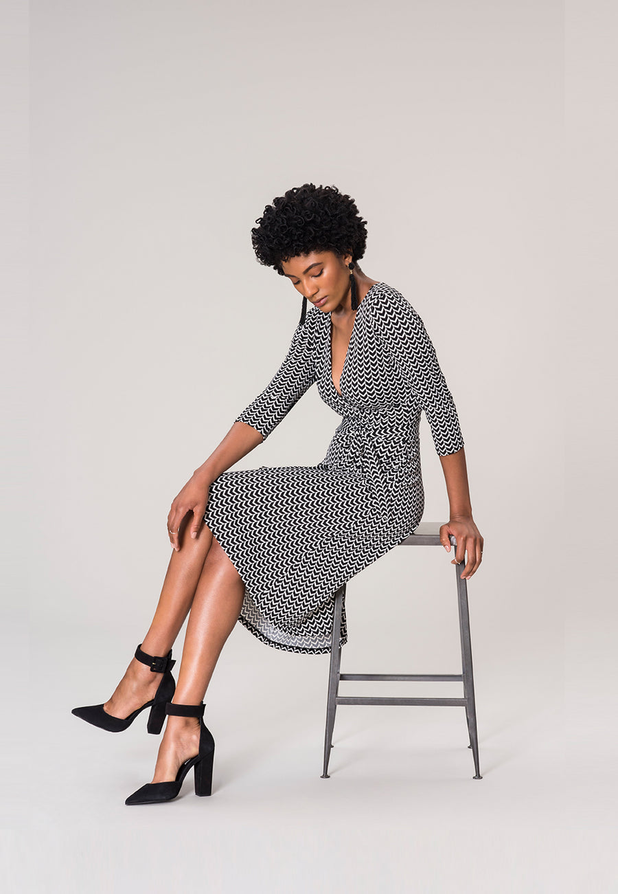 Perfect Wrap Dress  in Herringbone Black