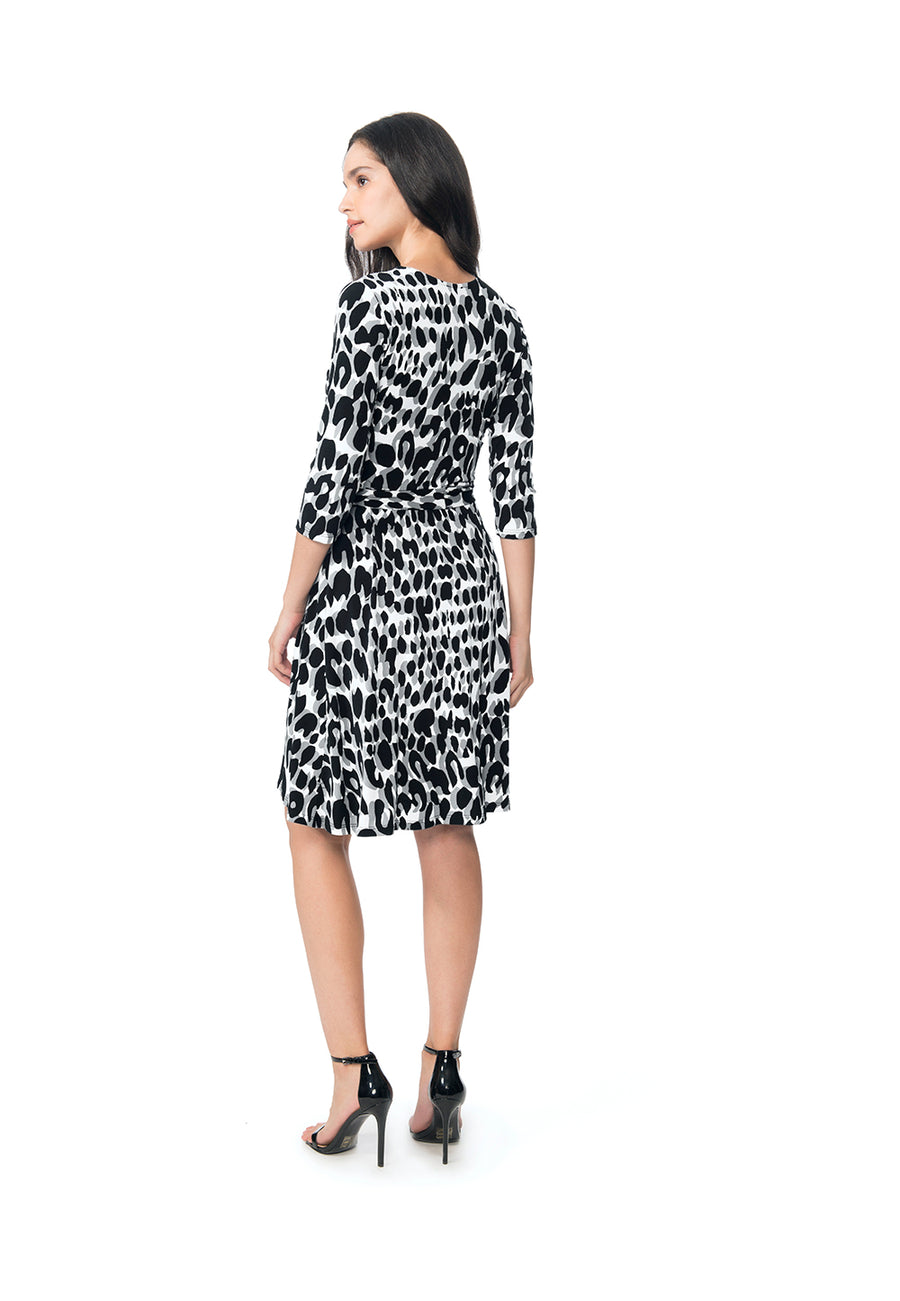 Perfect Wrap Dress  in Painted Leopard Grey