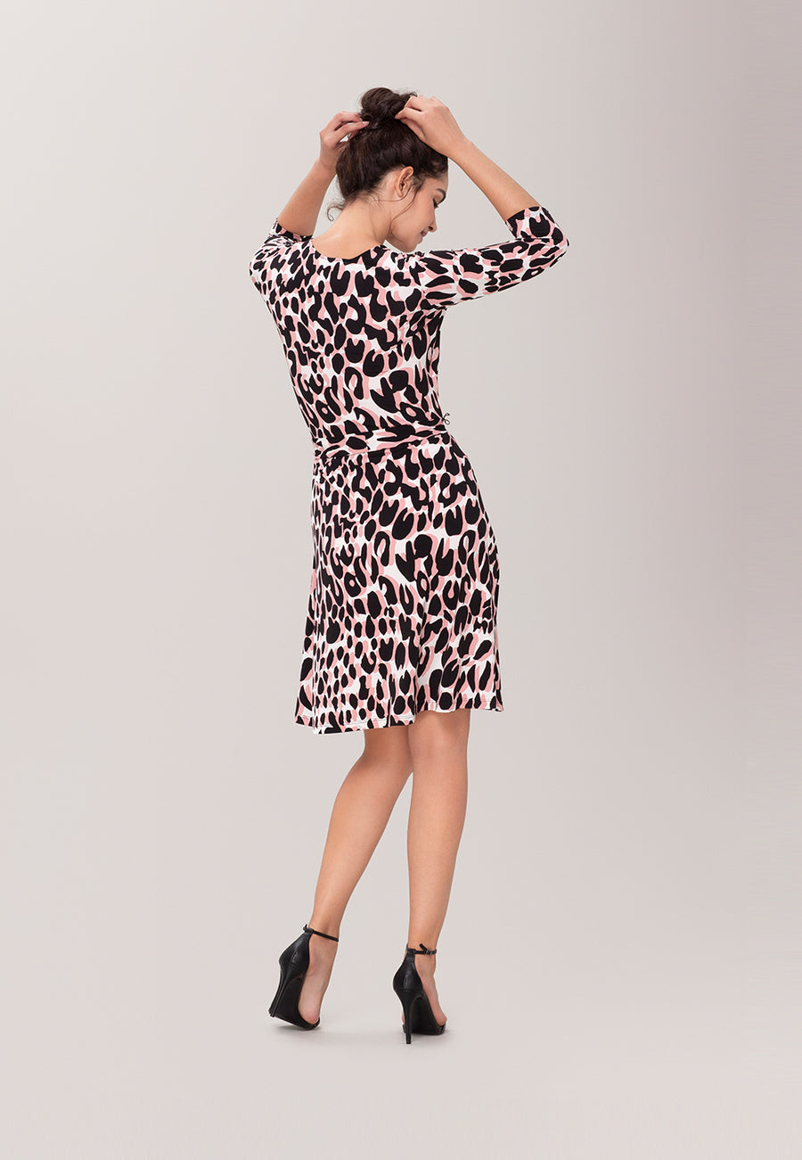 Perfect Wrap Dress  in Painted Leopard Rose Pink