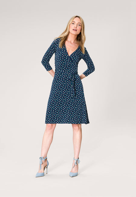 Perfect Wrap Dress in Twilight Dot Parakeet