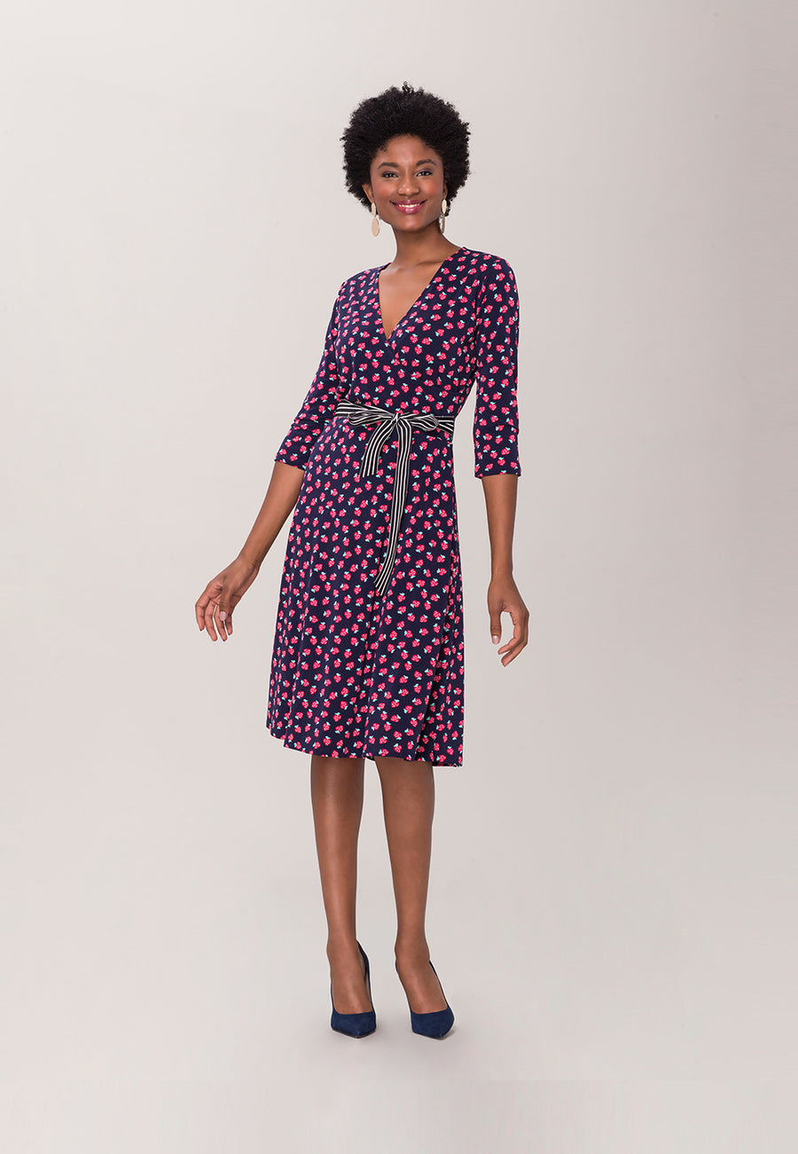 Perfect Wrap Dress  in Strawberry Patch Blue