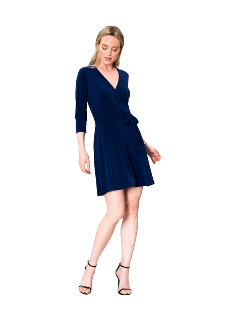 Perfect Wrap Mini Dress in Classic Navy Blue