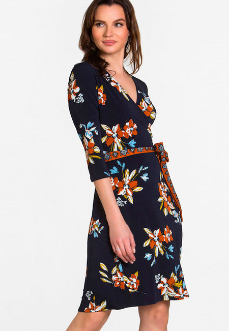 Perfect Wrap Mini Dress  in Santa Barbara Floral Blue