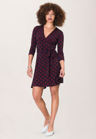 Perfect Wrap Mini Dress  in Sailor Knot Goji Berry Blue